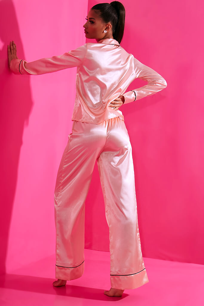Blush Pink Long Sleeve Piped Satin Pyjama Set view 5