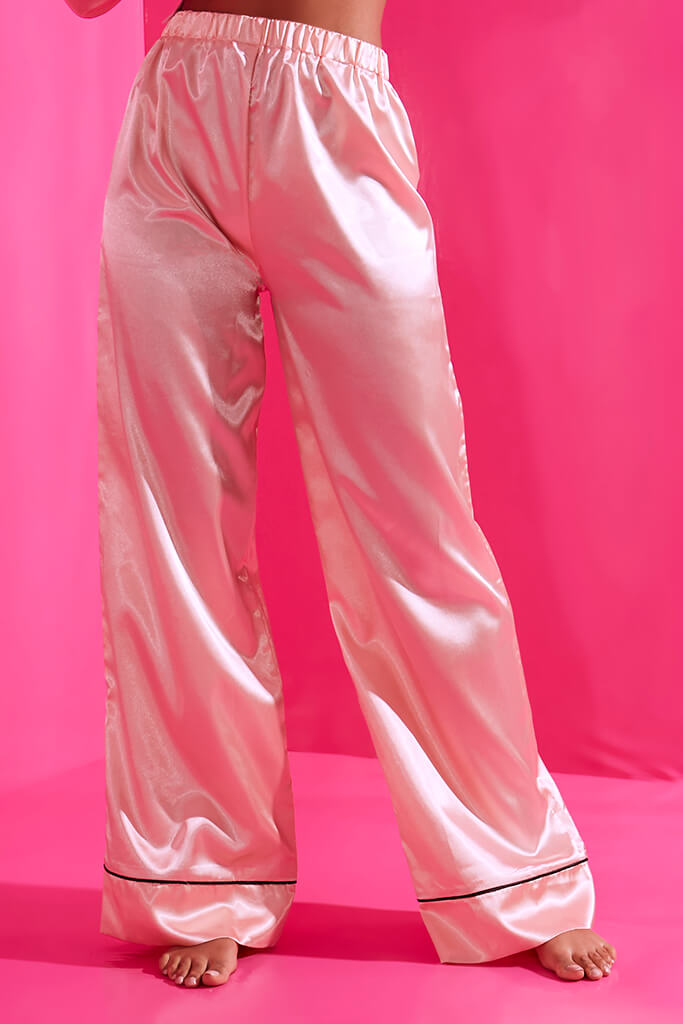 Blush Pink Long Sleeve Piped Satin Pyjama Set view 4