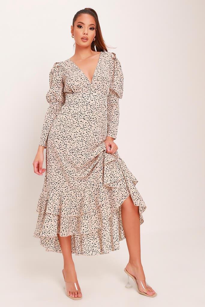 Cream Woven Spot Print Plunge Ruffle Hem Midi Dress