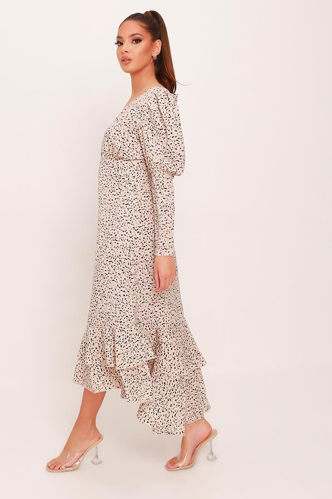 Cream Woven Spot Print Plunge Ruffle Hem Midi Dress view 3