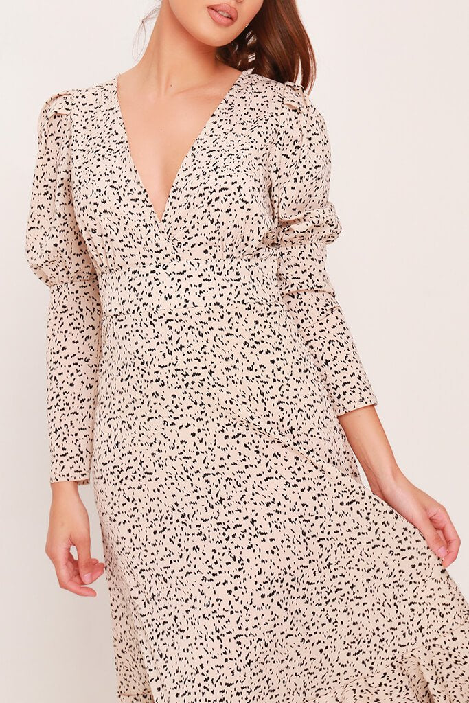 Cream Woven Spot Print Plunge Ruffle Hem Midi Dress view 4