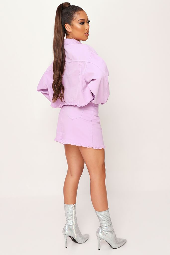 Lilac Distressed Hem Denim Skirt view 3