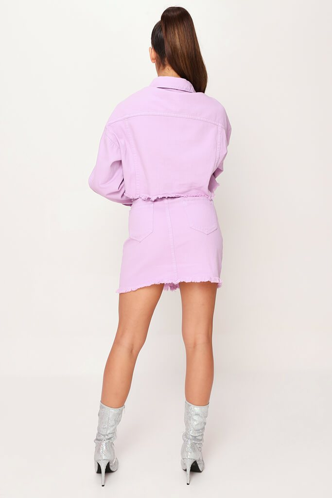 Lilac Distressed Hem Denim Skirt view 5