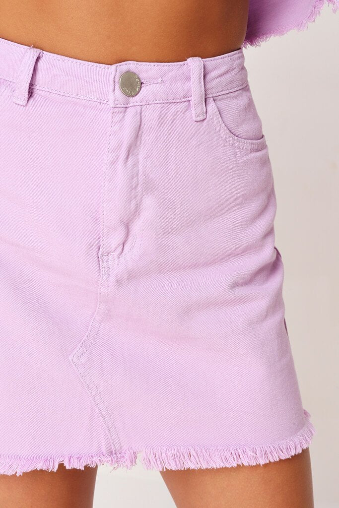 Lilac Distressed Hem Denim Skirt view 4