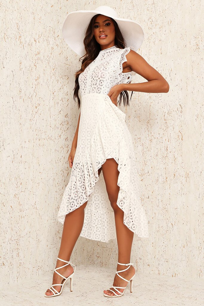 White Lace Sleeveless Dip Hem Skater Dress