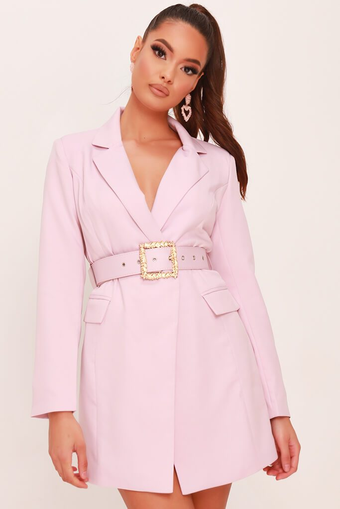 Dusky Pink Woven Boroque Buckle Belted Blazer Dress view 2