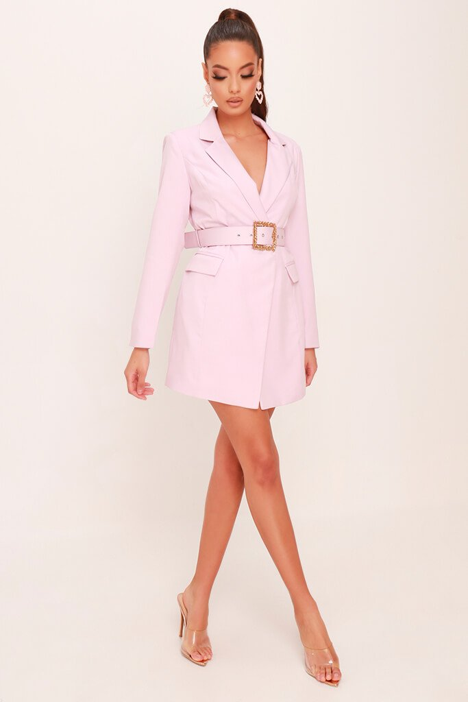 Dusky Pink Woven Boroque Buckle Belted Blazer Dress view 3