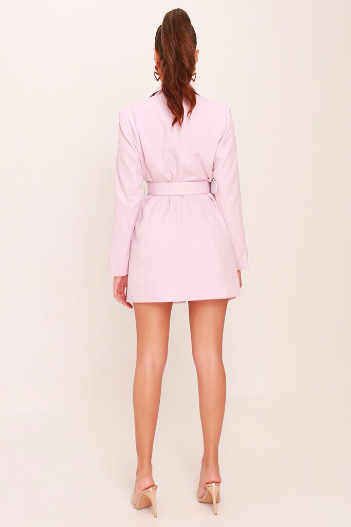 Dusky Pink Woven Boroque Buckle Belted Blazer Dress view 5