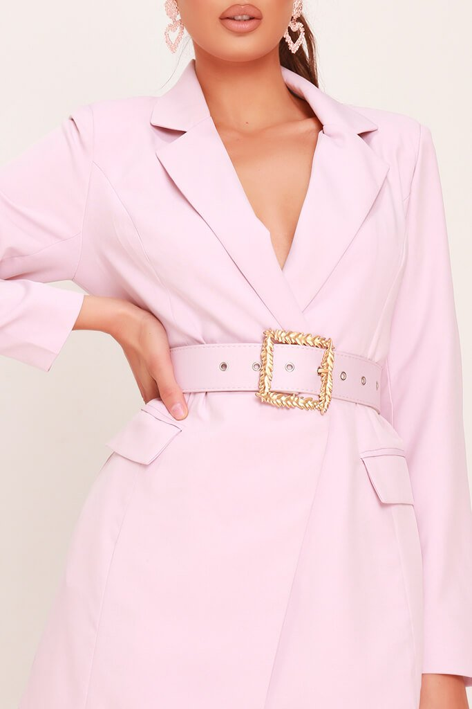 Dusky Pink Woven Boroque Buckle Belted Blazer Dress view 4