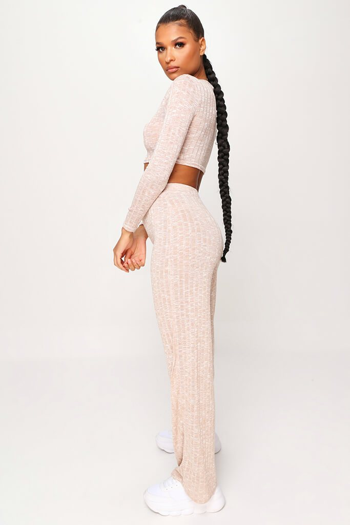 Stone Marl Rib Long Sleeve Crop Top & Wide Leg Trouser Co-Ord Set view 3