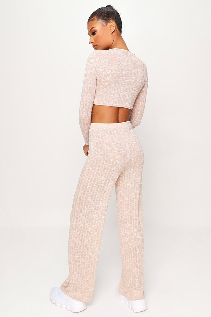 Stone Marl Rib Long Sleeve Crop Top & Wide Leg Trouser Co-Ord Set view 5