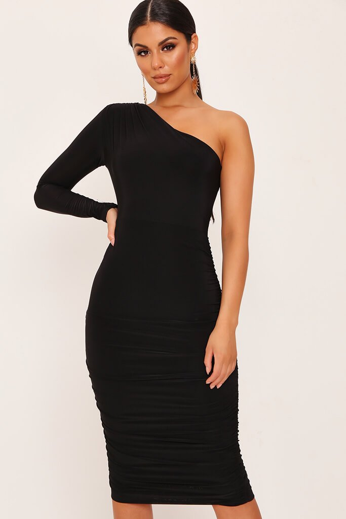 Black One Shoulder Ruched Side Tie Waist Slinky Midi Dress view main view