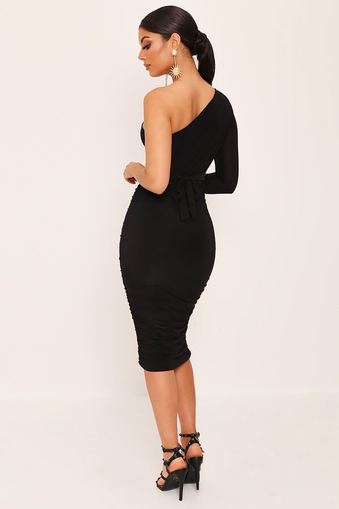 Black One Shoulder Ruched Side Tie Waist Slinky Midi Dress view 3