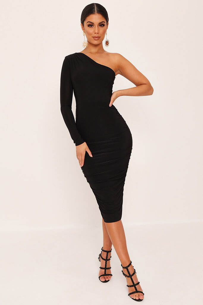 Black One Shoulder Ruched Side Tie Waist Slinky Midi Dress view 2