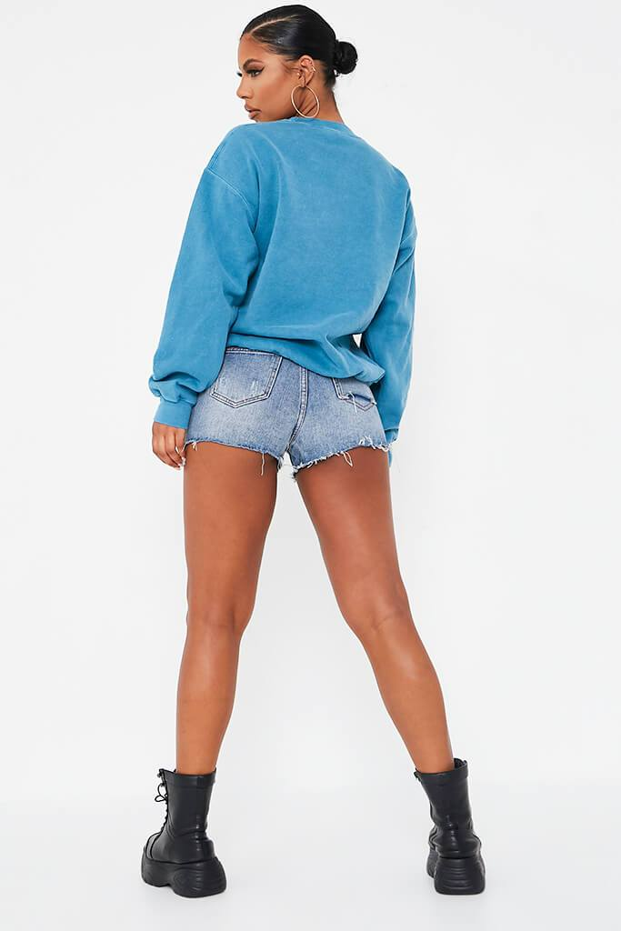 Pale Blue Bad Influence Oversized Sweatshirt view 5