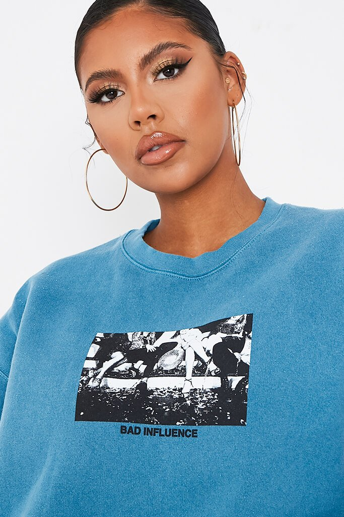 Pale Blue Bad Influence Oversized Sweatshirt view 4