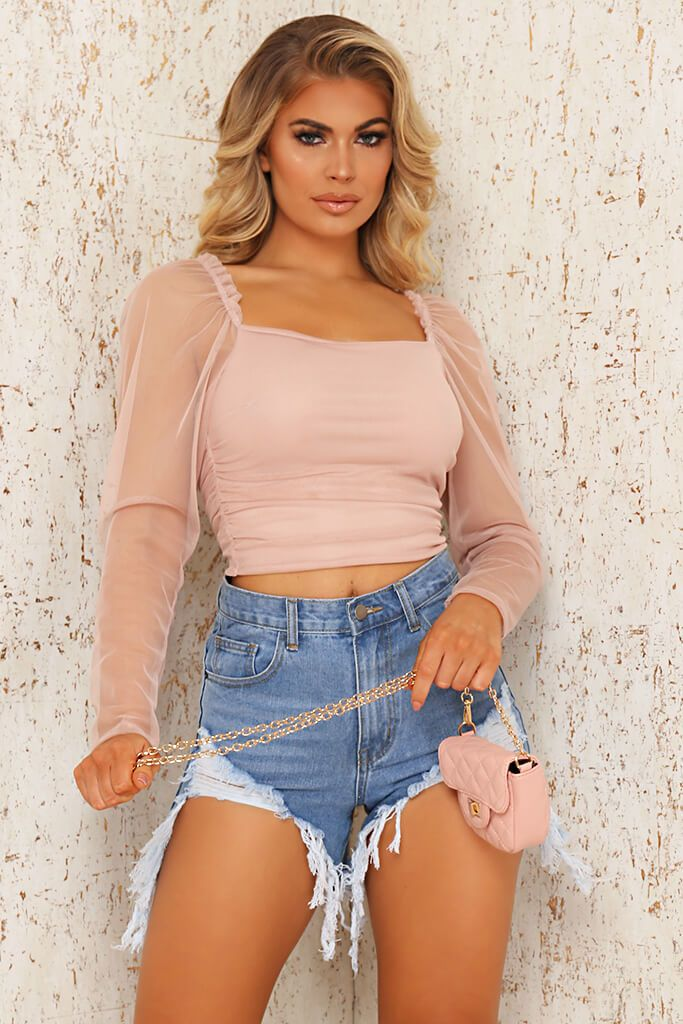 Rose Gold Mesh Sleeve Ruched Crop Blouse