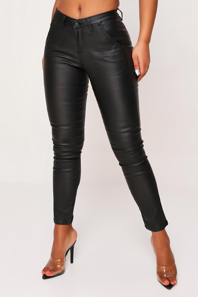 Black Straight Leg High Waist Coated Denim Jeans view 2