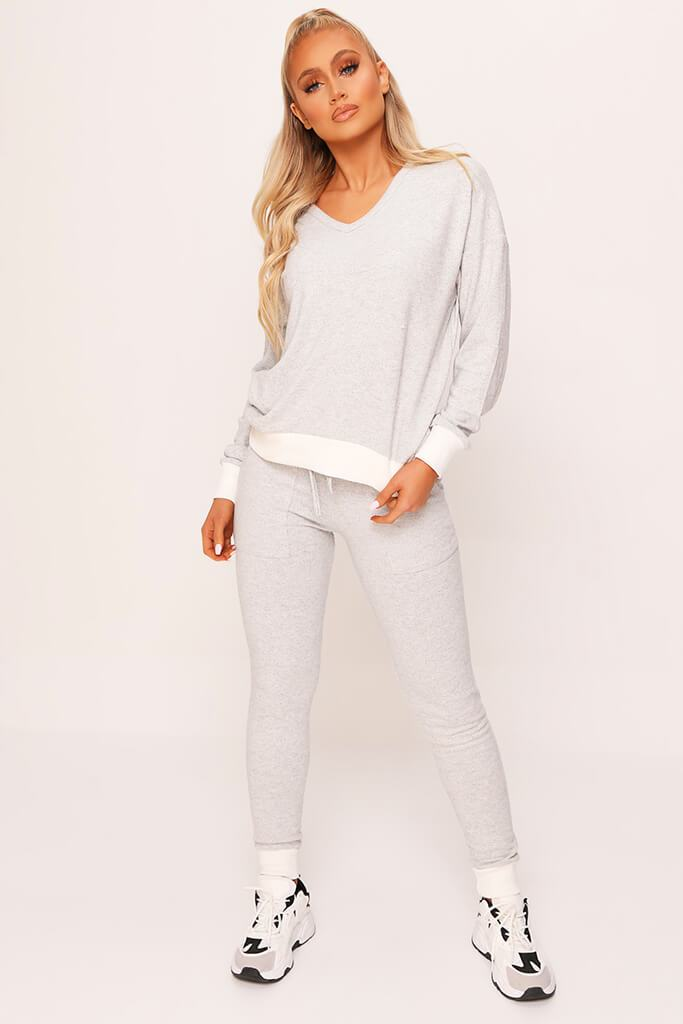 Grey V-Neck Side Stripe Soft Touch Brushed Loungewear Set view 2