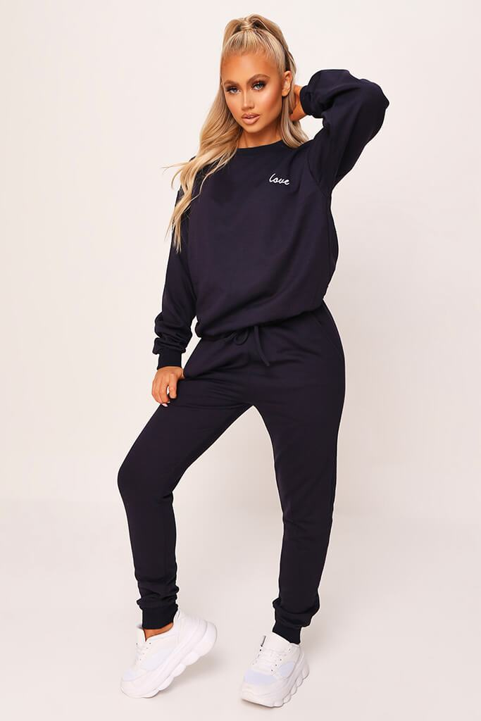 Dark Navy 'Love' Embroidered Sweater And Jogger Set