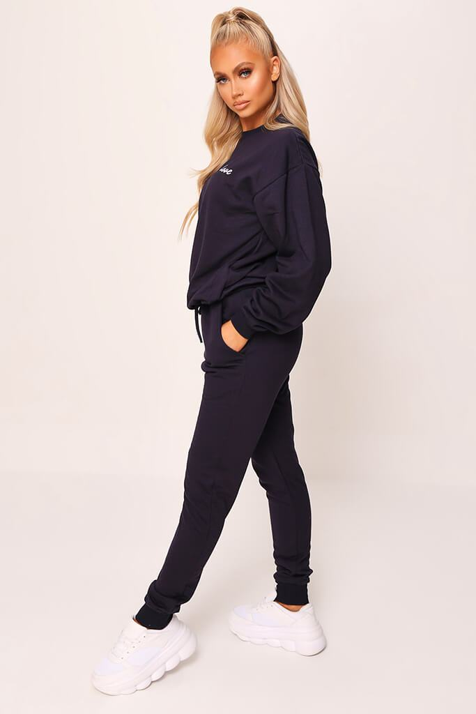Dark Navy 'Love' Embroidered Sweater And Jogger Set view 3