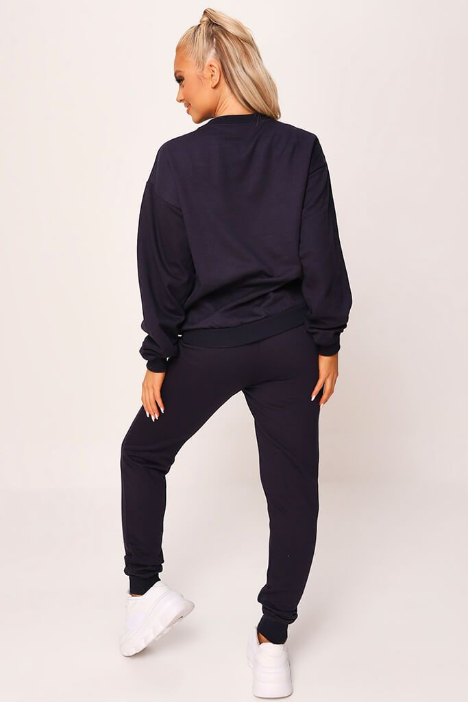 Dark Navy 'Love' Embroidered Sweater And Jogger Set view 5