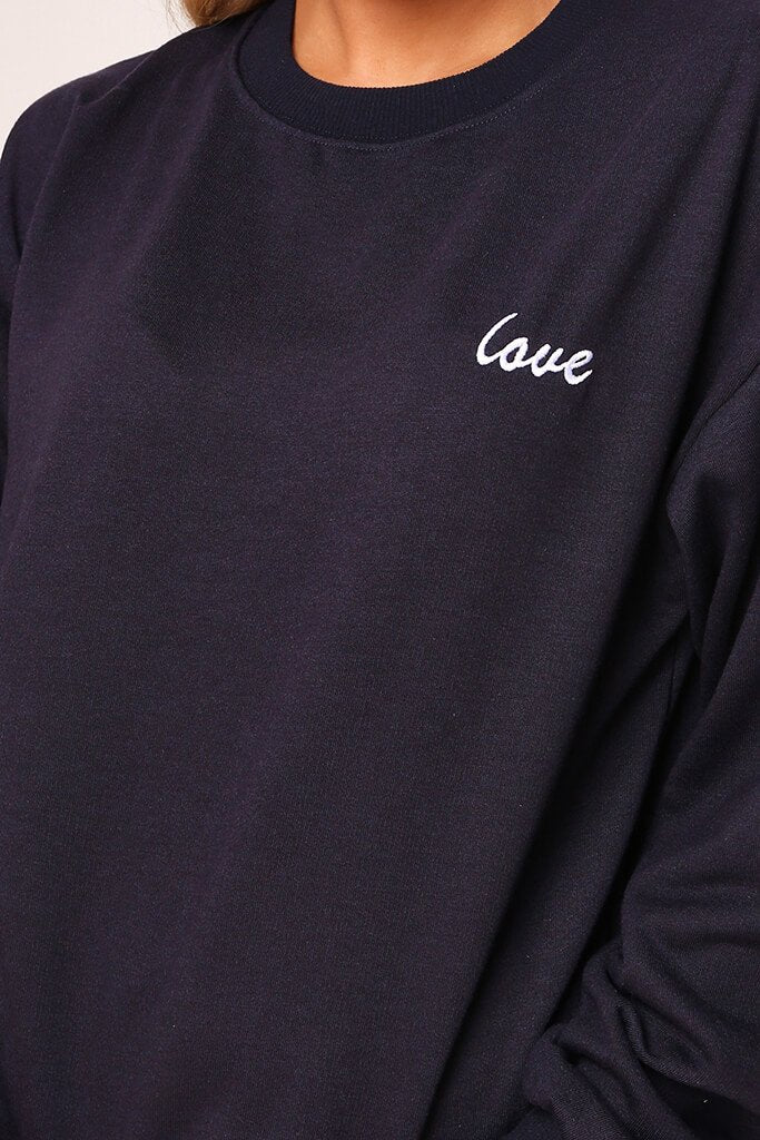 Dark Navy 'Love' Embroidered Sweater And Jogger Set view 4