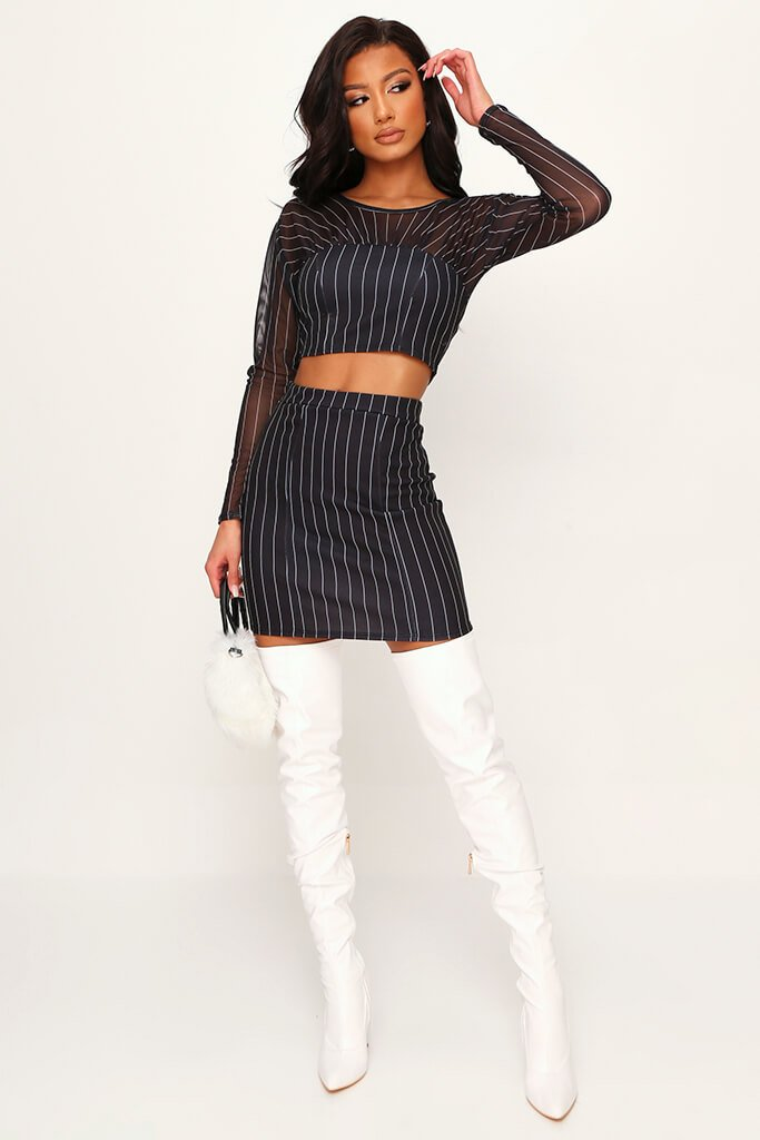 Black Zebra Print Scuba Panel Mesh Sleeve Crop Top view 2