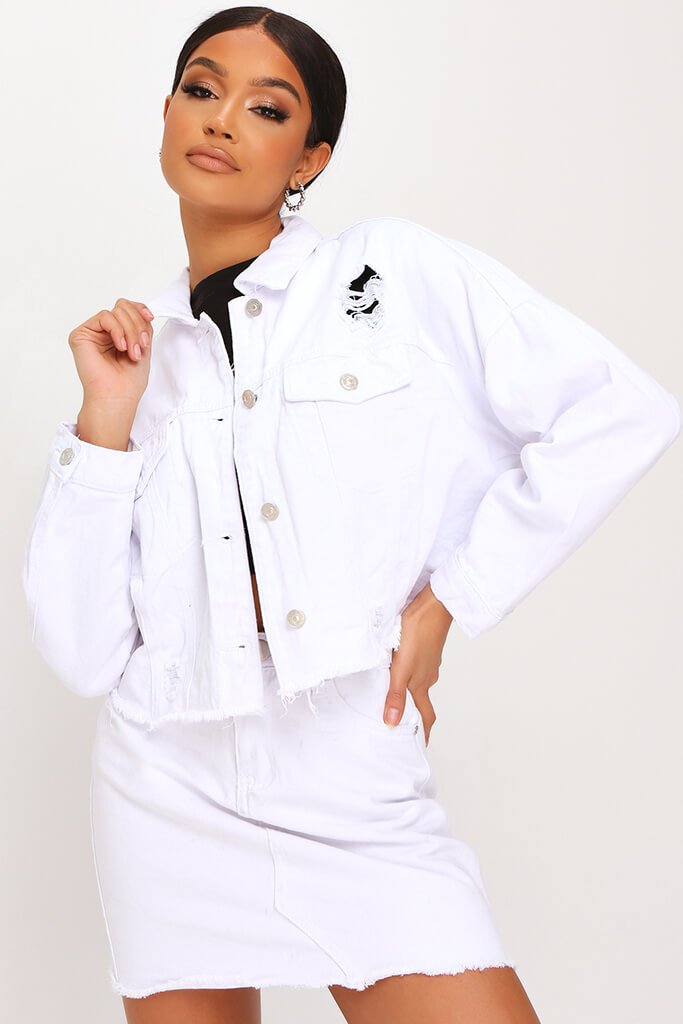 White Cropped Denim Jacket view main view