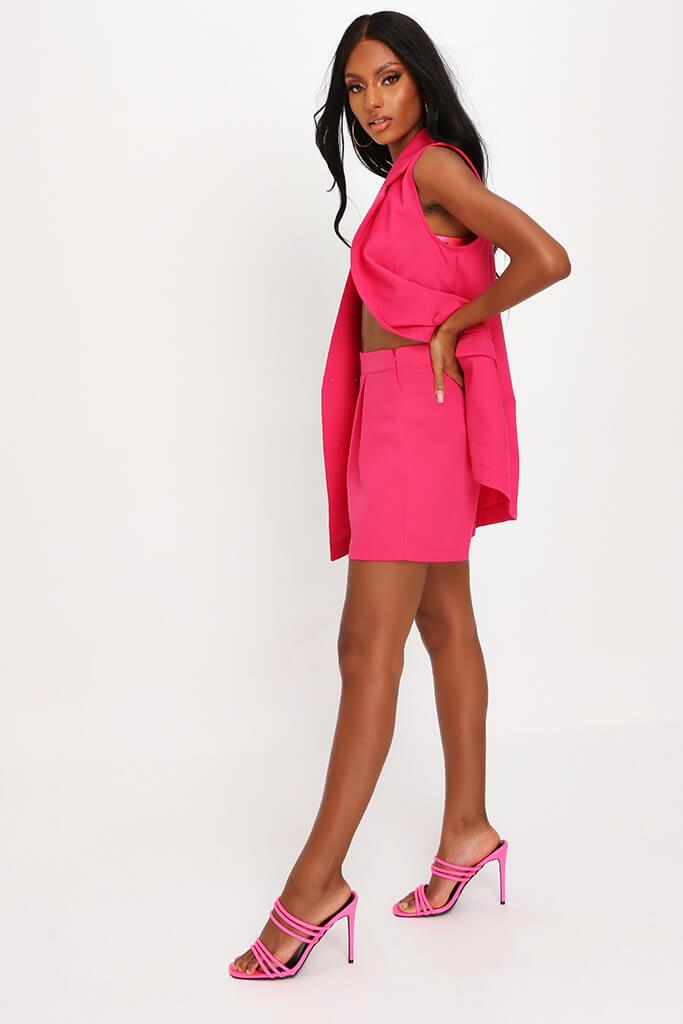 Hot Pink High Waisted Inverted Pleat Shorts view 3