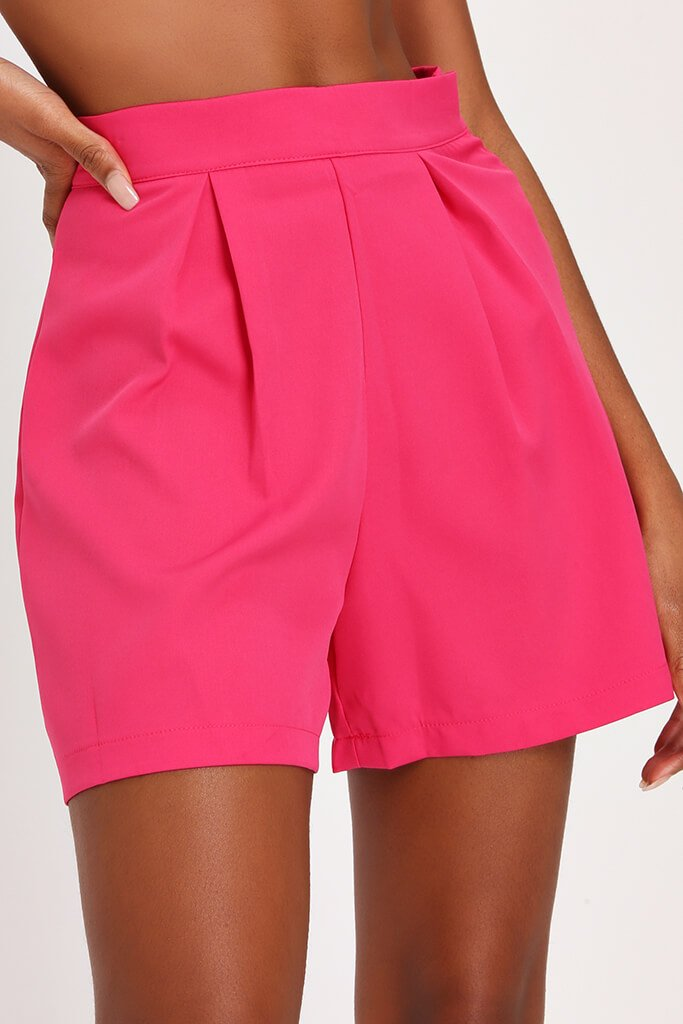 Hot Pink High Waisted Inverted Pleat Shorts view 4