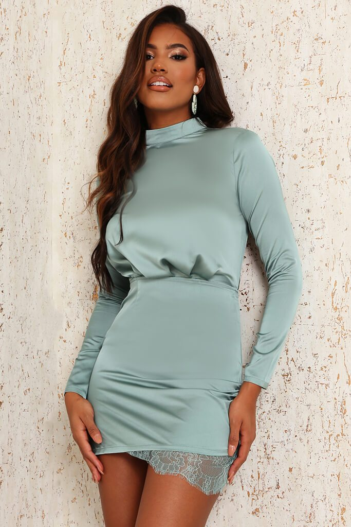 Teal Satin & Lace Open Back Bodycon Dress