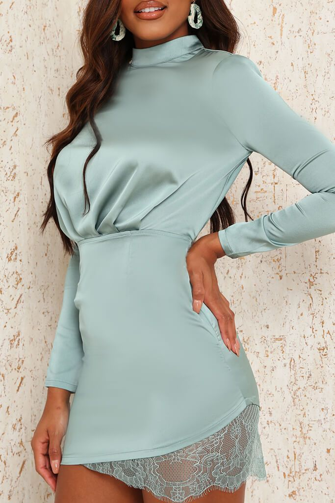 Teal Satin & Lace Open Back Bodycon Dress view 4