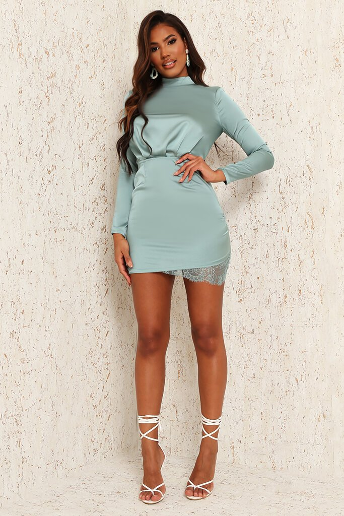 Teal Satin & Lace Open Back Bodycon Dress view 2