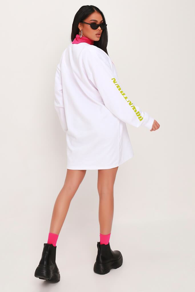 White Down Town Graphic Oversized Sweater Dress view 5