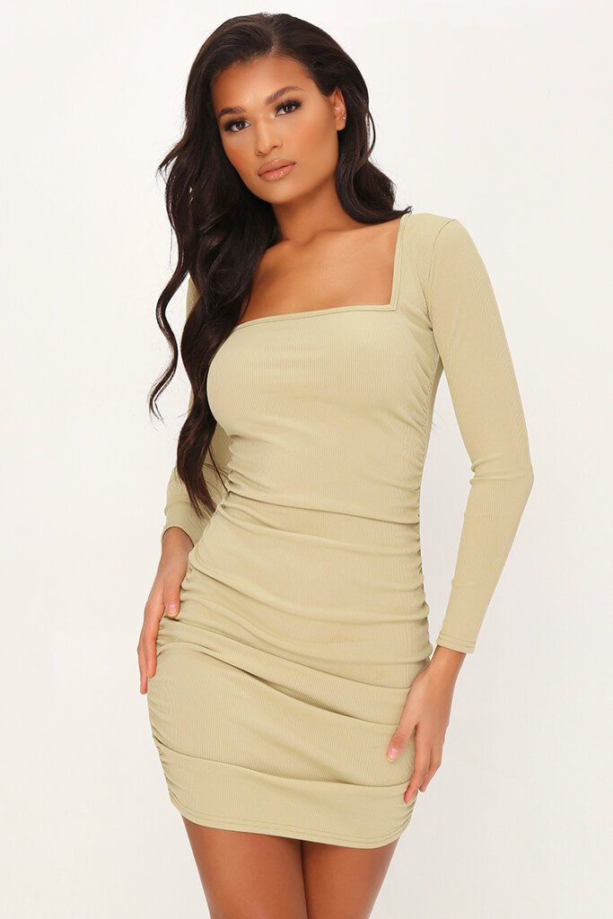 Sage Ruched Side Long Sleeve Ribbed Dress
