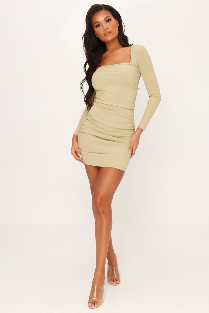 Sage Ruched Side Long Sleeve Ribbed Dress view 2