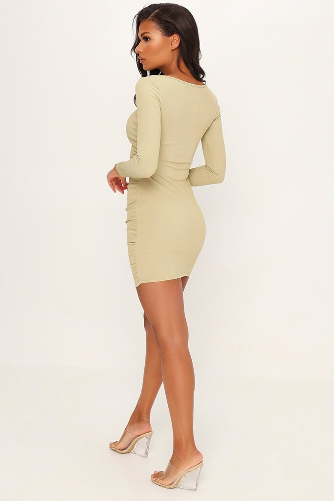 Sage Ruched Side Long Sleeve Ribbed Dress view 5