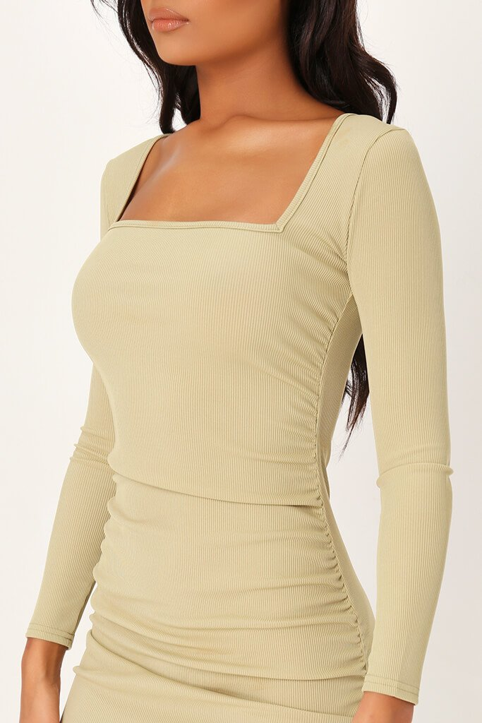 Sage Ruched Side Long Sleeve Ribbed Dress view 4