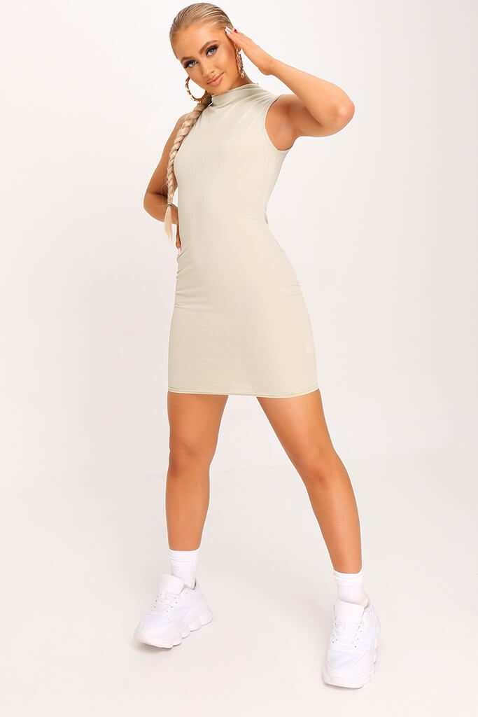 Sage Ribbed Sleeveless Bodycon Dress