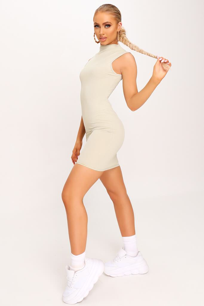 Sage Ribbed Sleeveless Bodycon Dress view 2