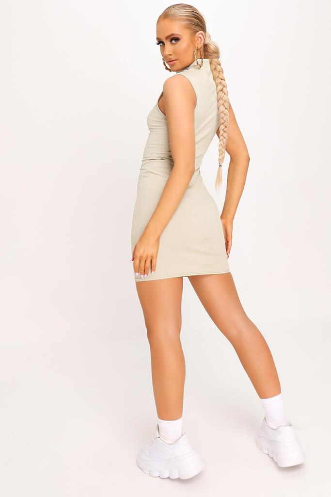 Sage Ribbed Sleeveless Bodycon Dress view 4