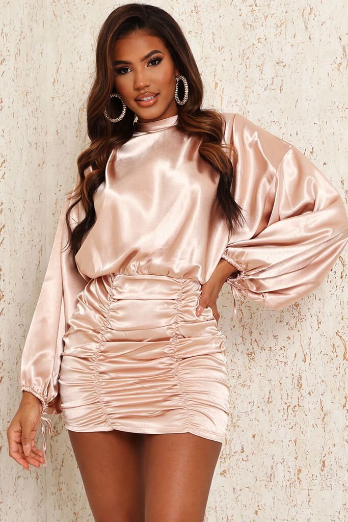 Nude Satin High Neck Balloon Sleeve Ruched Front Dress view 3