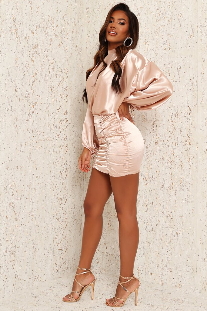 Nude Satin High Neck Balloon Sleeve Ruched Front Dress view 2