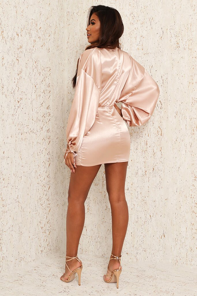 Nude Satin High Neck Balloon Sleeve Ruched Front Dress view 5
