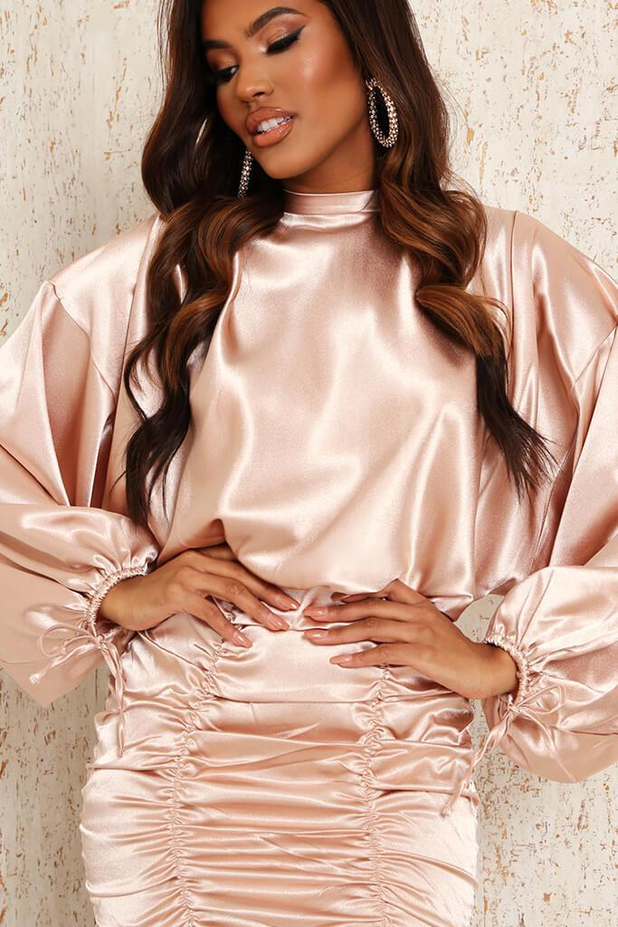 Nude Satin High Neck Balloon Sleeve Ruched Front Dress view 4