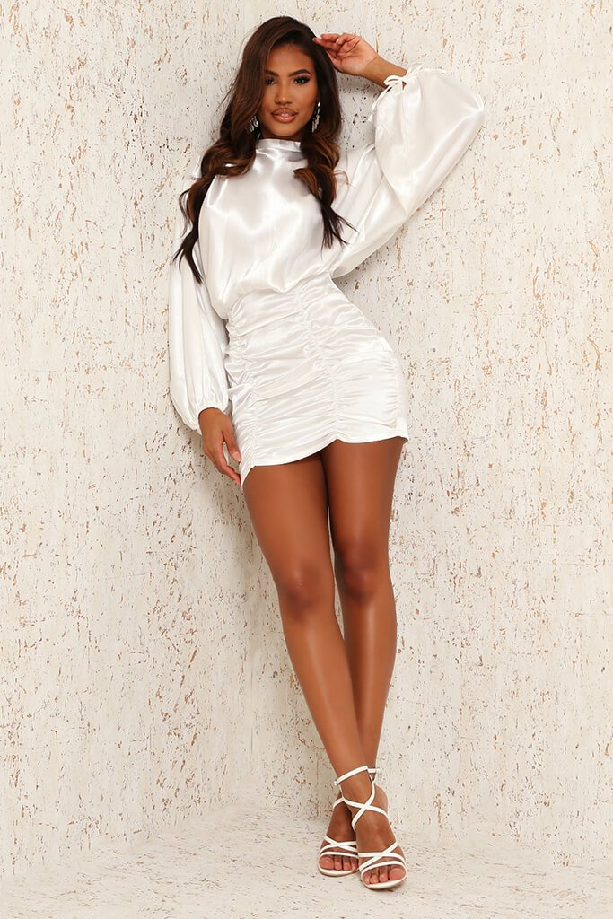 White Satin High Neck Balloon Sleeve Ruched Front Dress view 3