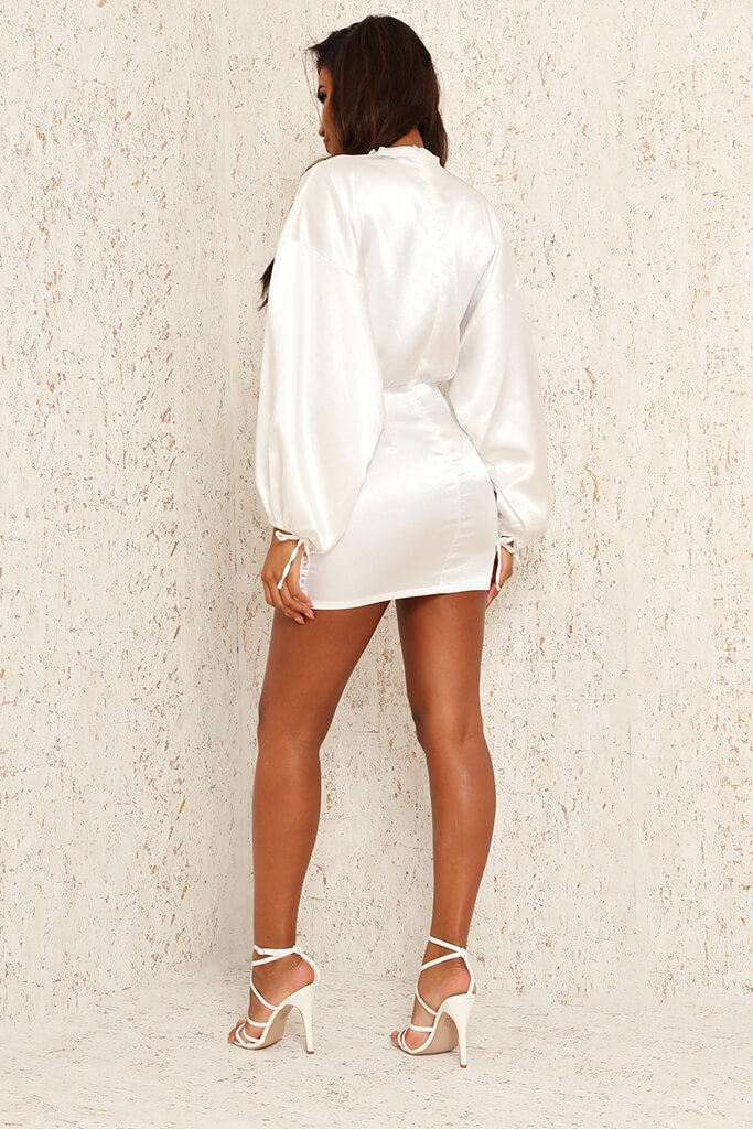 White Satin High Neck Balloon Sleeve Ruched Front Dress view 5