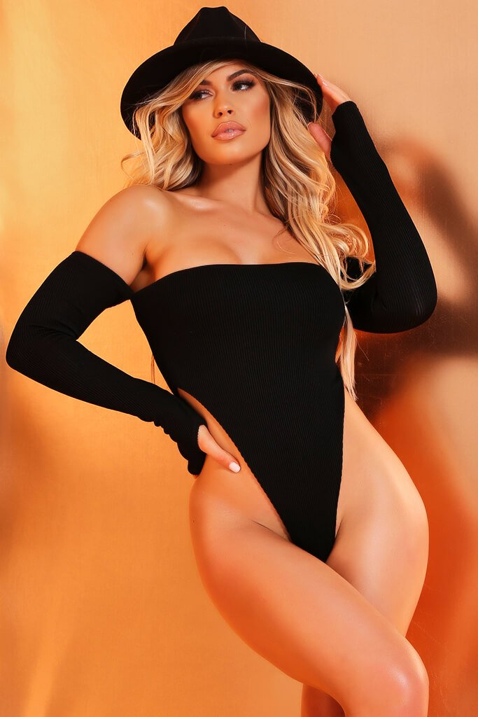 Black Long Sleeve Bardot Ribbed Swimsuit view main view