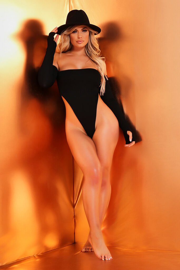 Black Long Sleeve Bardot Ribbed Swimsuit view 2